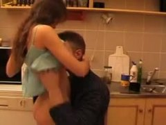 Not daughter, Daddy, Young, Fucking, Dad and girl, Teen, Old and young, Kitchen