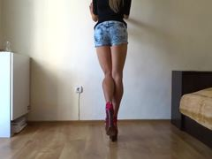 Heels, Big ass, Shoes, Posing, Striptease, Legs, Ass, Athletic, Bodybuilder, Muscular, High definition, Long legs, Clothes ripped, Undressing