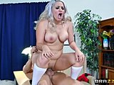 Ass, Sucking, Fetish, Doggystyle, Big tits, Boobs, Cowgirl, Bent over, Uniform, Blonde, Blowjob, Schoolgirl, Tits, Socks, Cock, Big cock, Monster cock, Riding