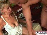 Hardcore, Grandmother, Sucking, Mature, Doggystyle, Cock, Panties, Blonde, Granny, Fucking, Bent over