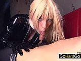 Hot sex bombs in leather look very sexy and wild