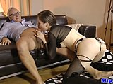 Glamour, Classy, Doggystyle, Old and young, Young, Old man, European, Stockings, Teen, Old, Amateurs, Bent over