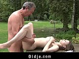 Old and young, Teen, Grandfather, Natural tits, Swallow, Lick, Dad and girl, Old, Young, Fucking, Outdoor, High definition, Brunette, Hardcore, Blowjob
