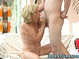 Grandmother, Sucking, High definition, Blonde, Blowjob, Creampie, Big cock, Granny, Monster cock, Cock