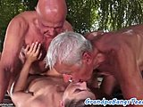 Young, Group, Banging, High definition, Old and young, Brunette, Old man, Gangbang, Blowjob, Dad and girl, European, 3 some, Teen, Cum, Outdoor, Old